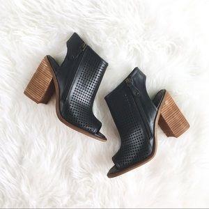 """Kelsi Dagger """"Malia"""" Black Leather+Wood Heels, 6.5"""